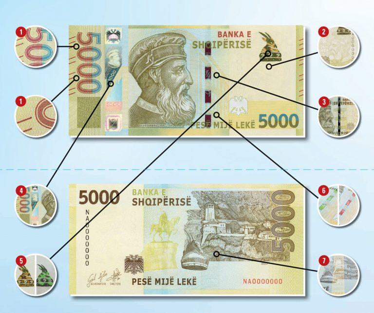 nuova banconota 5000 leke albania